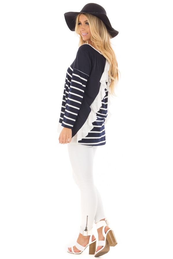 Navy Striped Top with Back Drawstring and Ruffle side full body