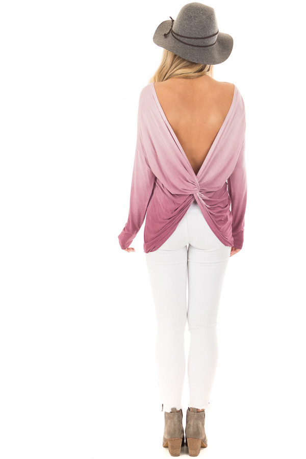 Pale Violet Ombre Top with Twisted Open Back Detail back full body