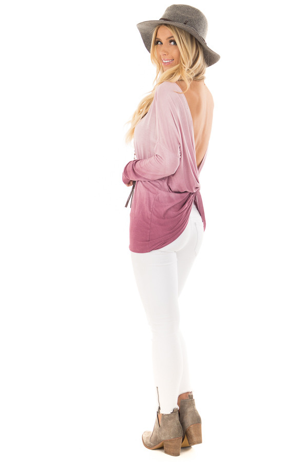 Pale Violet Ombre Top with Twisted Open Back Detail back side full body