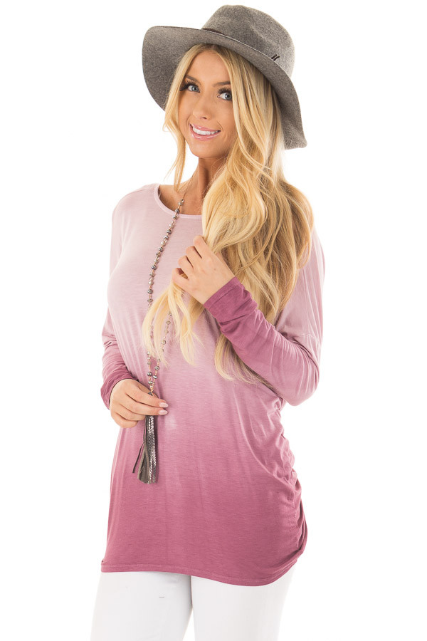 Pale Violet Ombre Top with Twisted Open Back Detail front close up