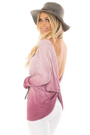 Pale Violet Ombre Top with Twisted Open Back Detail back side close up