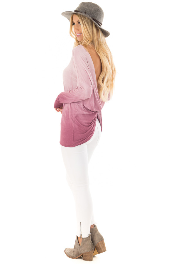 Pale Violet Ombre Top with Twisted Open Back Detail side full body