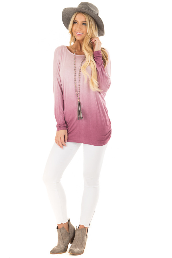 Pale Violet Ombre Top with Twisted Open Back Detail front full body