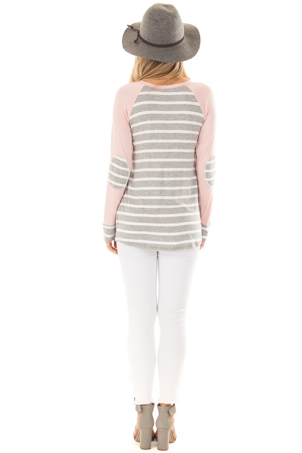 Heather Grey Striped Top with Light Pink Contrast back full body
