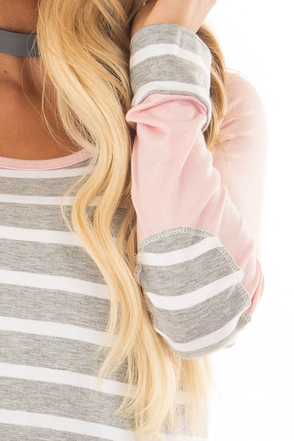 Heather Grey Striped Top with Light Pink Contrast detail