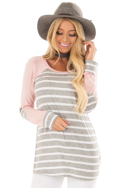 Heather Grey Striped Top with Light Pink Contrast front close up