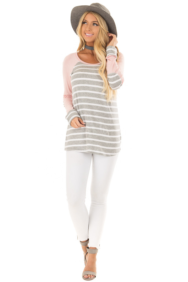 Heather Grey Striped Top with Light Pink Contrast front full body