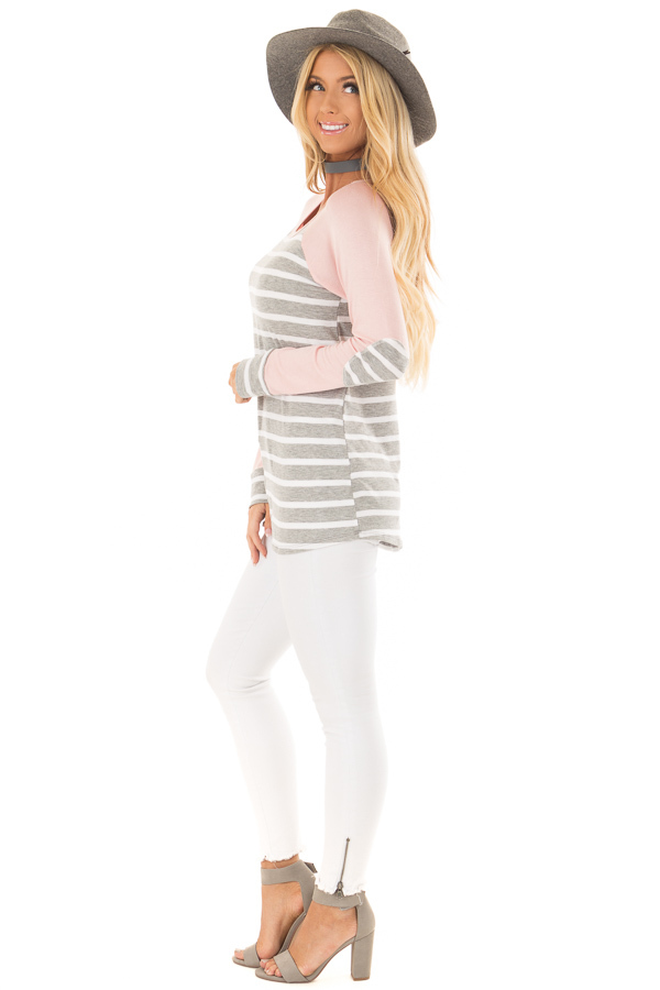 Heather Grey Striped Top with Light Pink Contrast side full body