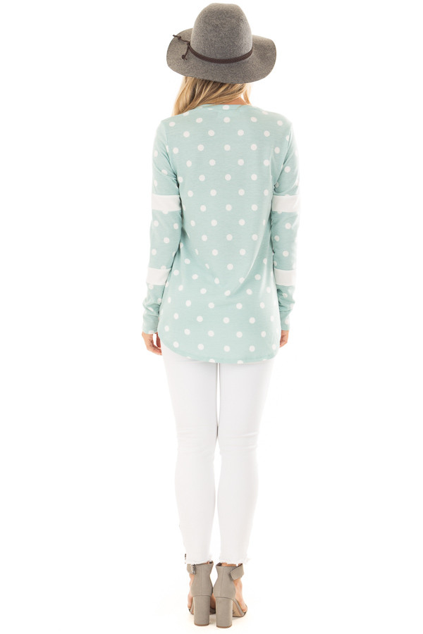 Light Mint Polka Dot Top with Textured Contrast back full body