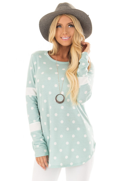 Light Mint Polka Dot Top with Textured Contrast front close up