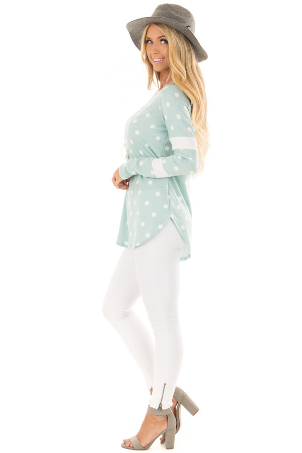 Light Mint Polka Dot Top with Textured Contrast side full body