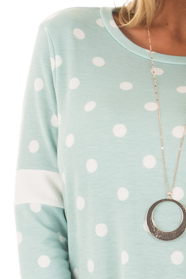 Light Mint Polka Dot Top with Textured Contrast detail