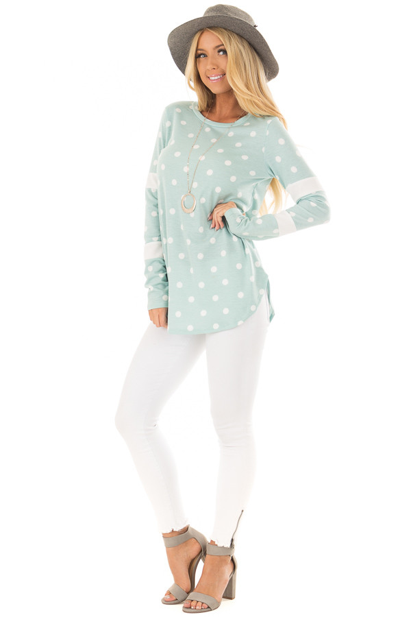 Light Mint Polka Dot Top with Textured Contrast front full body