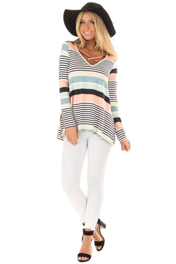 Multi Color Striped Top with Criss Cross Neckline front full body