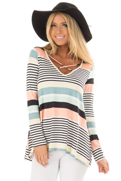 Multi Color Striped Top with Criss Cross Neckline front close up