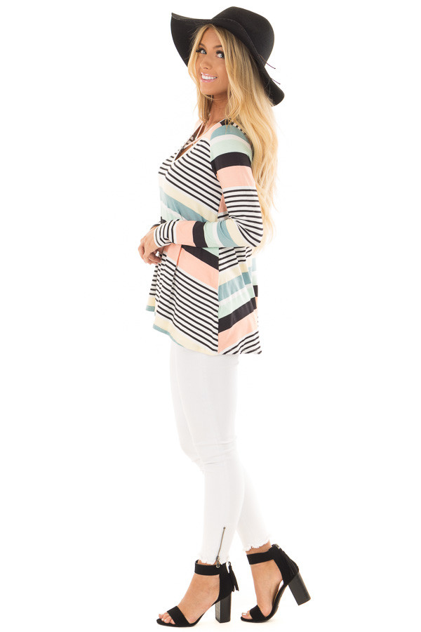 Multi Color Striped Top with Criss Cross Neckline side full body
