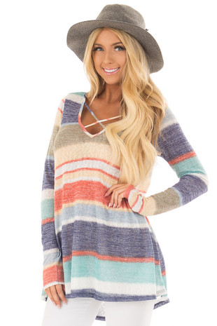 Blue Multi Striped Top with Criss Cross Neckline front close up