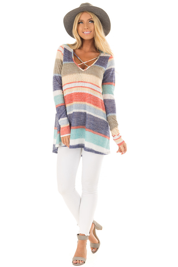 Blue Multi Striped Top with Criss Cross Neckline front full body