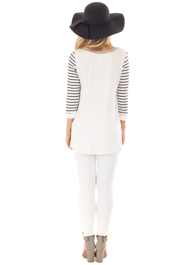 Heather Grey and Ivory Top with Stripe Contrast back full body