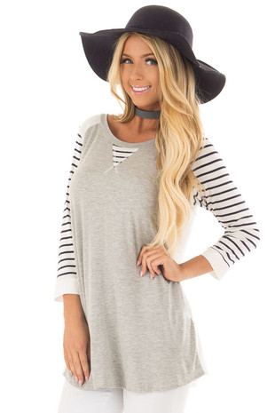 Heather Grey and Ivory Top with Stripe Contrast front close up