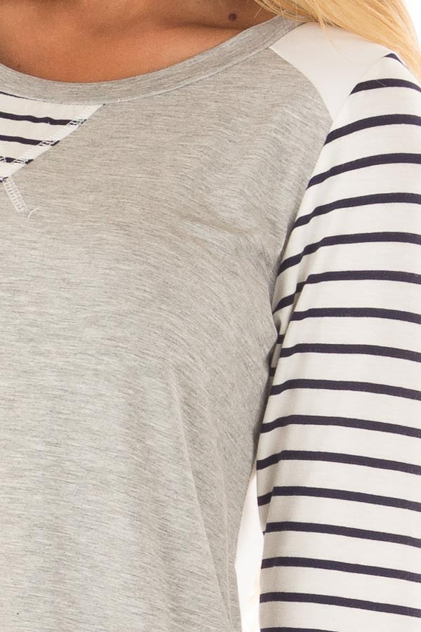 Heather Grey and Ivory Top with Stripe Contrast detail