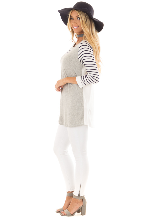 Heather Grey and Ivory Top with Stripe Contrast side full body