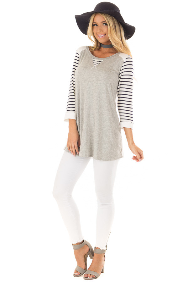 Heather Grey and Ivory Top with Stripe Contrast front full body