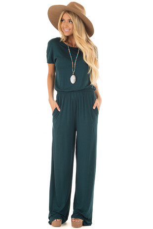 Hunter Green Short Sleeve Jump Suit with Hidden Pockets front full body