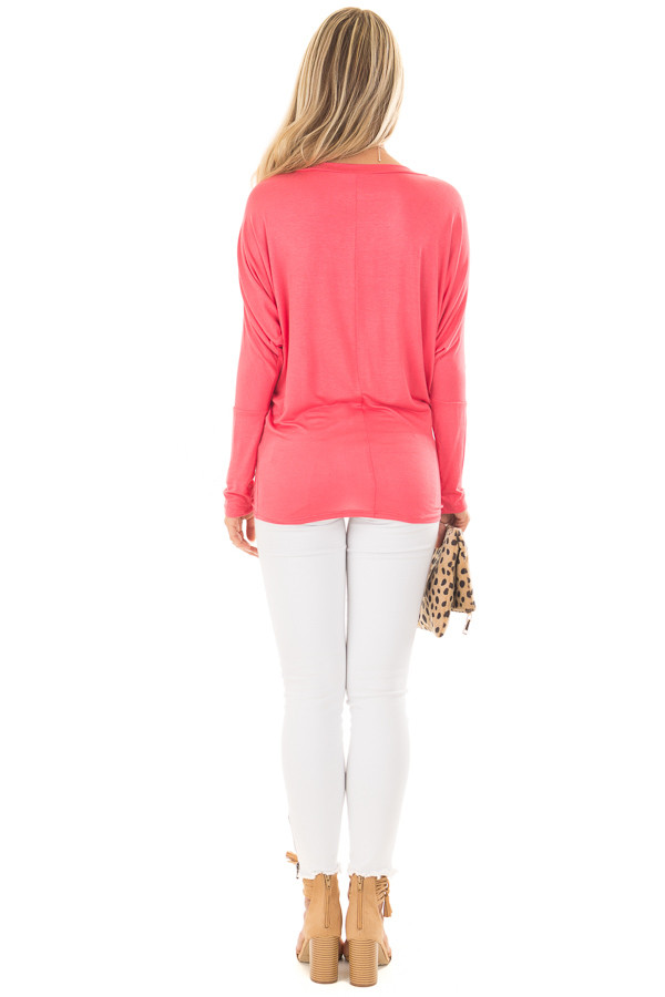 Flamingo Pink Boatneck Top with Dolman Sleeves back full body