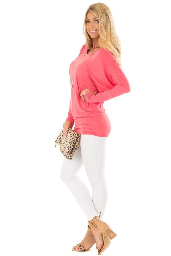 Flamingo Pink Boatneck Top with Dolman Sleeves side full body