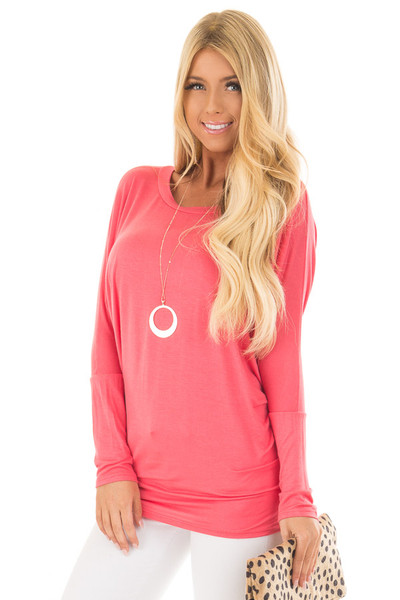 Flamingo Pink Boatneck Top with Dolman Sleeves front close up