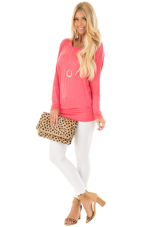Flamingo Pink Boatneck Top with Dolman Sleeves front full body