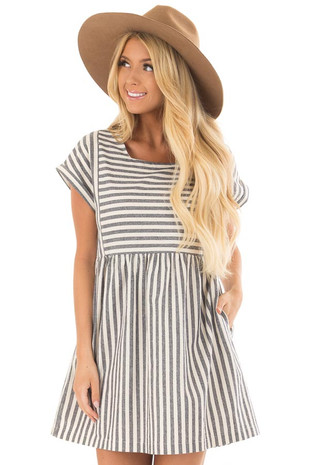 Navy Striped Babydoll Dress with Side Pockets front close up