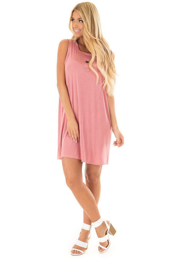 Mauve Loose Fit Sleeveless Dress front full body