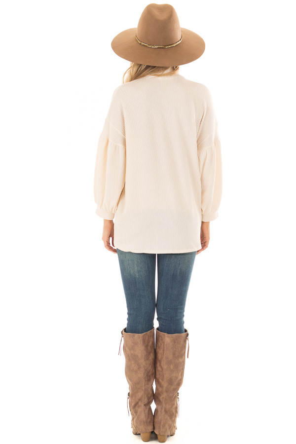 Cream Ribbed Loose Fit Top with Mock Neck back full body