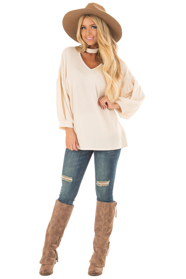 Cream Ribbed Loose Fit Top with Mock Neck front full body