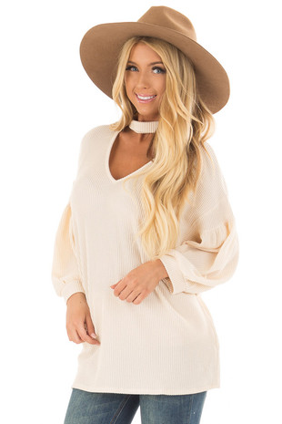 Cream Ribbed Loose Fit Top with Mock Neck front close up