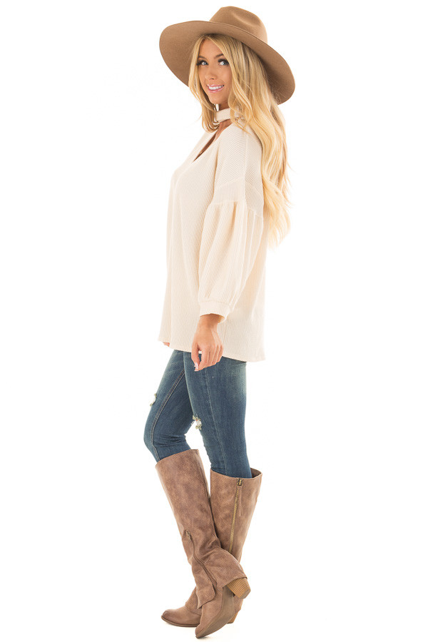 Cream Ribbed Loose Fit Top with Mock Neck side full body
