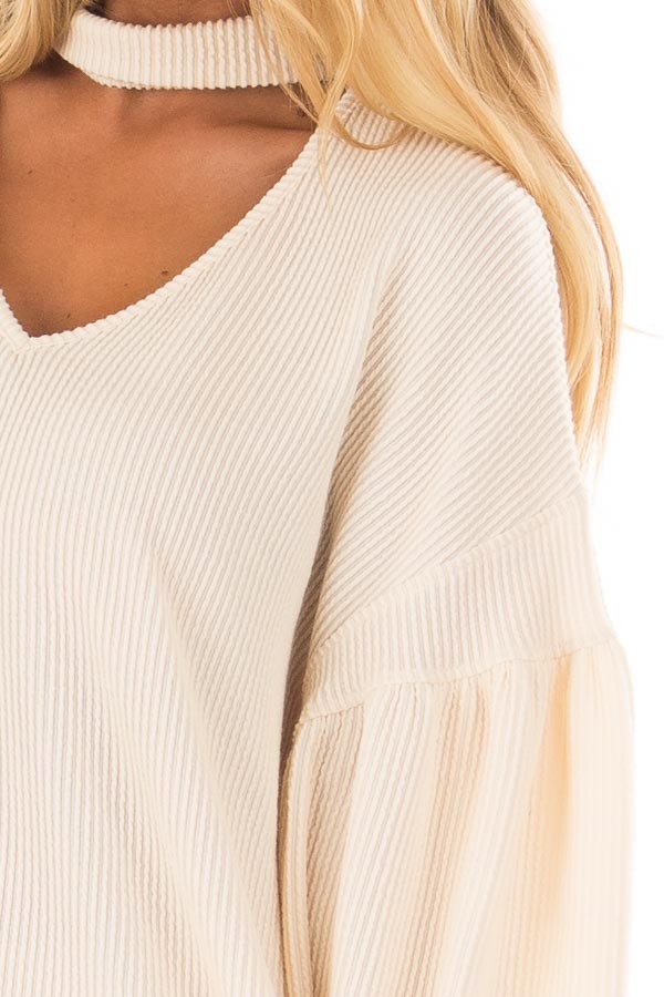 Cream Ribbed Loose Fit Top with Mock Neck detail