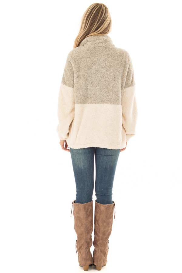 Moss and Cream Color Block Sherpa Jacket back full body