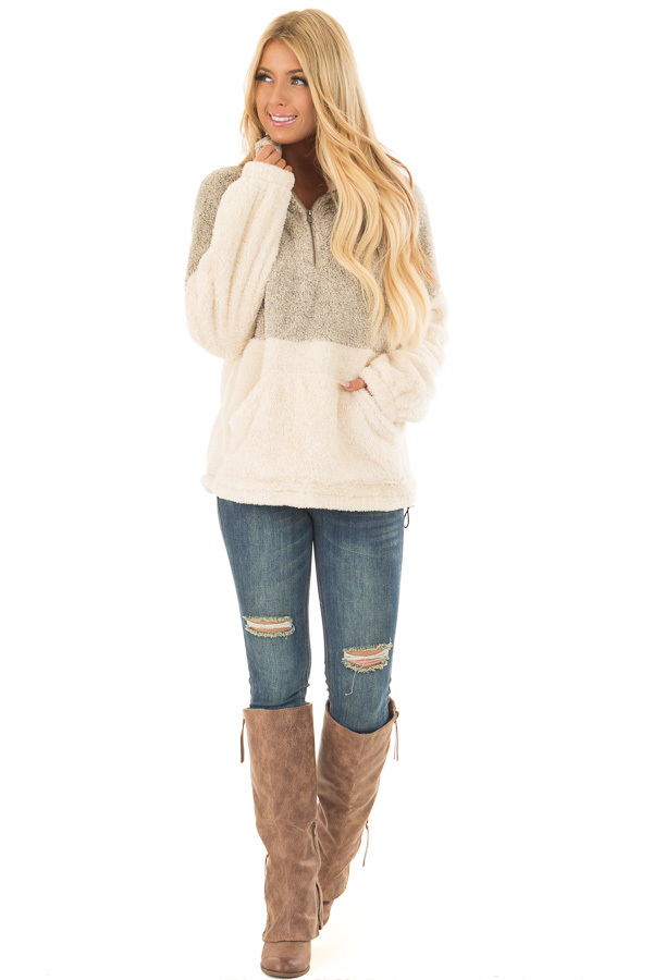 Moss and Cream Color Block Sherpa Jacket front full body