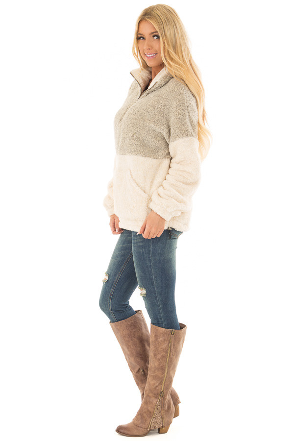 Moss and Cream Color Block Sherpa Jacket side full body