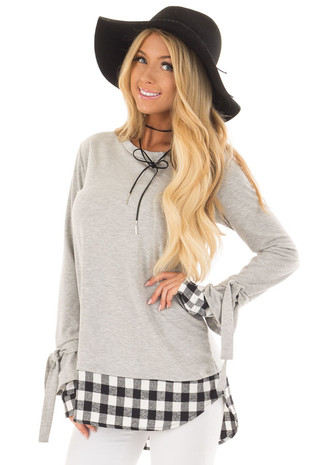 Light Grey Top with Black Plaid Contrast on Hem and Cuffs front close up