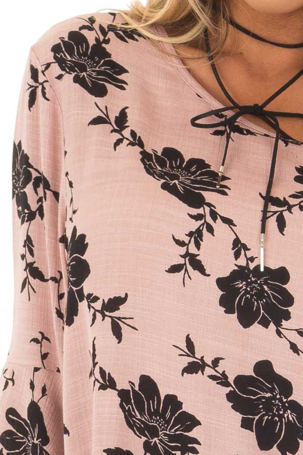 Dusty Pink Floral Top with Bell Sleeves detail