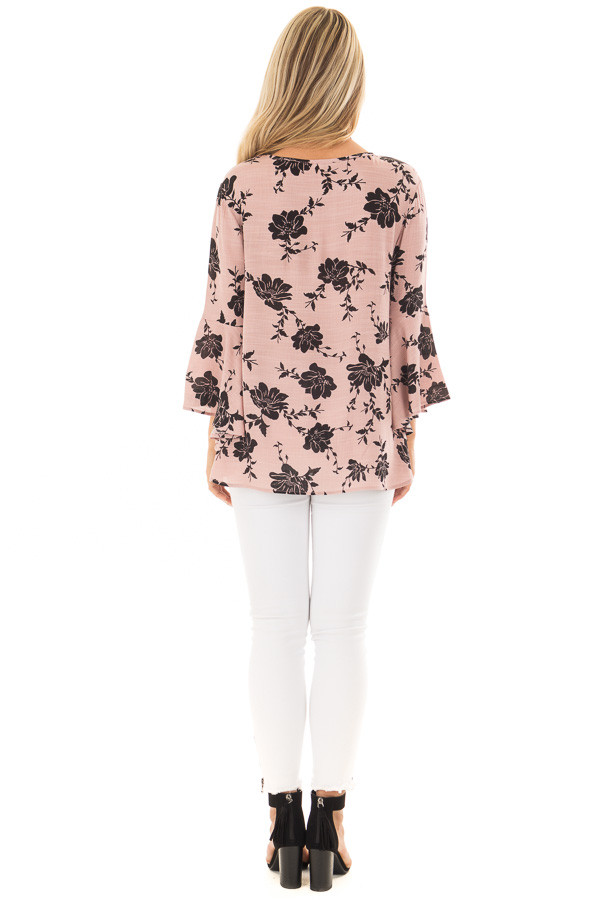Dusty Pink Floral Top with Bell Sleeves back full body