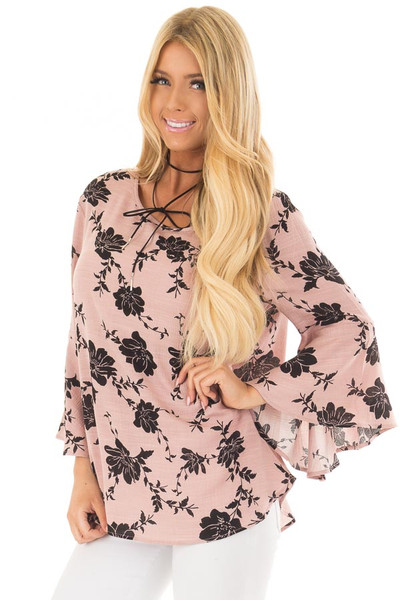 Dusty Pink Floral Top with Bell Sleeves front close up