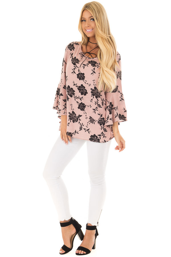 Dusty Pink Floral Top with Bell Sleeves front full body