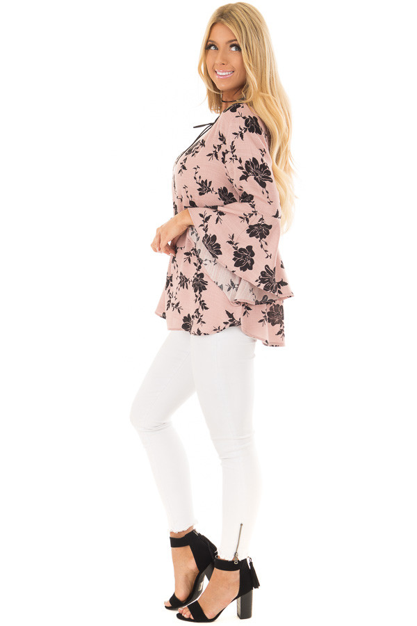 Dusty Pink Floral Top with Bell Sleeves side full body