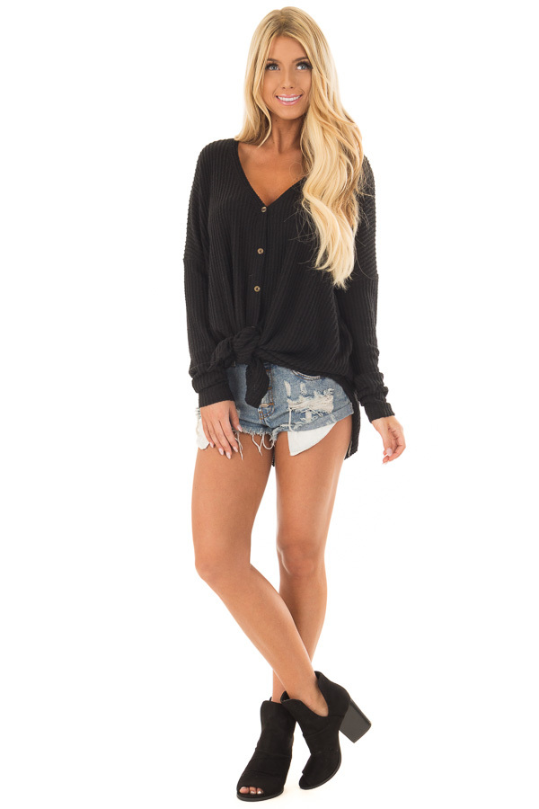 Black Waffle Knit Button Up Long Sleeve Top front full body