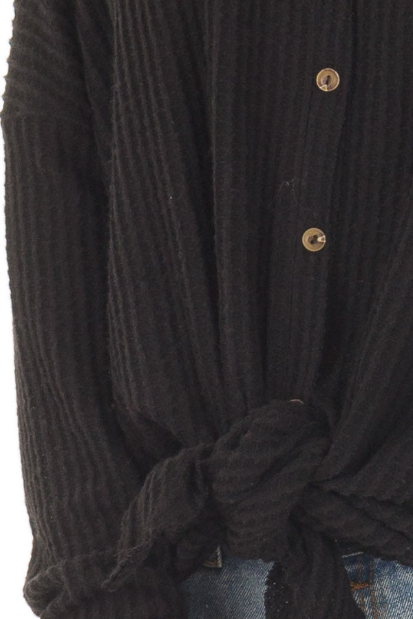 Black Waffle Knit Button Up Long Sleeve Top detail
